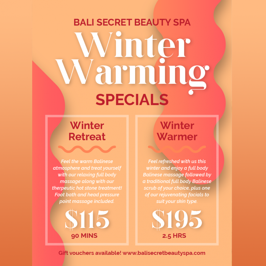 Winter Warming Specials!